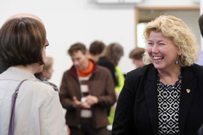 Dean Alice Aiken at a Faculty event.